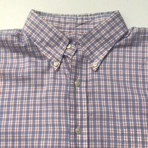 LANDS END Mens XL Blue Red Oxford Dress Shirt